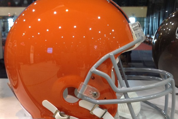 Browns Helmet Sideways Photo