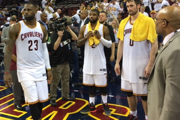 Cavs Big 3 Photo on Court - Game 1 vs Detroit