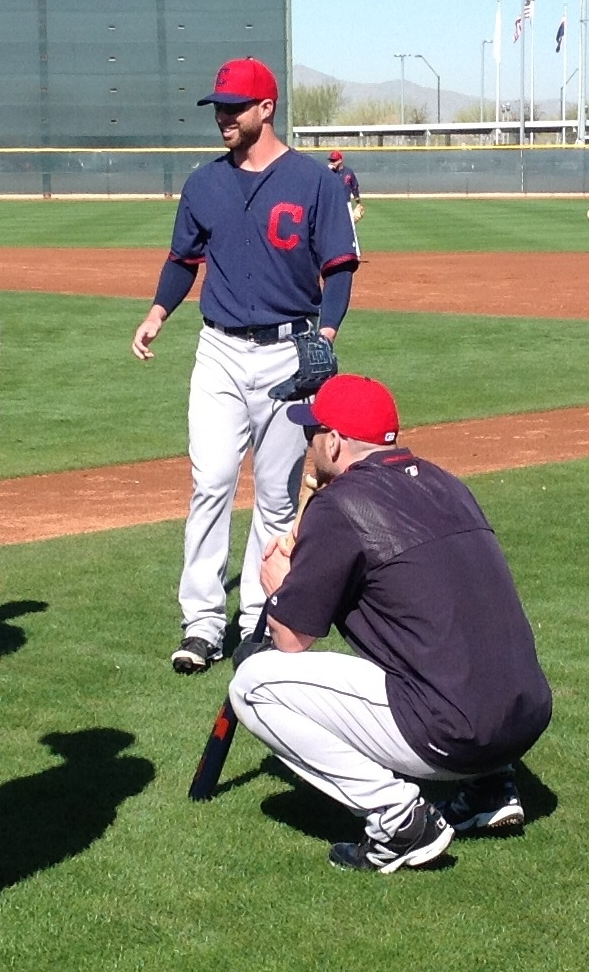 Corey Kluber Smiling at Practice 2-27-15