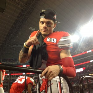 Devin Smith with the OSU Number #1 Pose Postgame Celebration Nati Championship 1-12-15