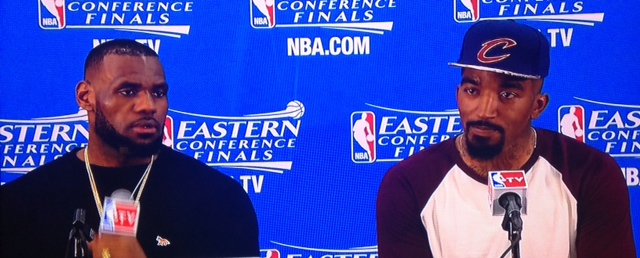 JR Smith and LeBron James Podium Postgame vs Hawks Game 1 ECF 5-20-15