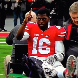 JT Barrett Thumbs Up Injury photo