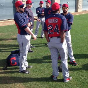 Jason Kipnis, Michael Bourn and Mike Aviles talking before Practice 2-27-15