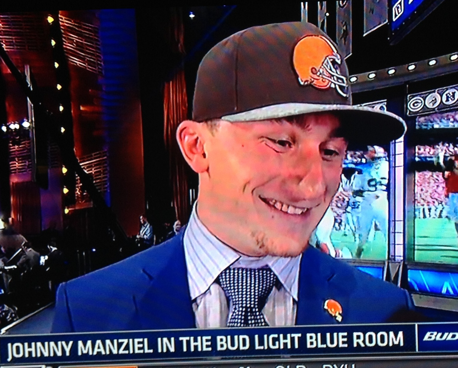 Johnny Manziel Smiling at NFL Draft