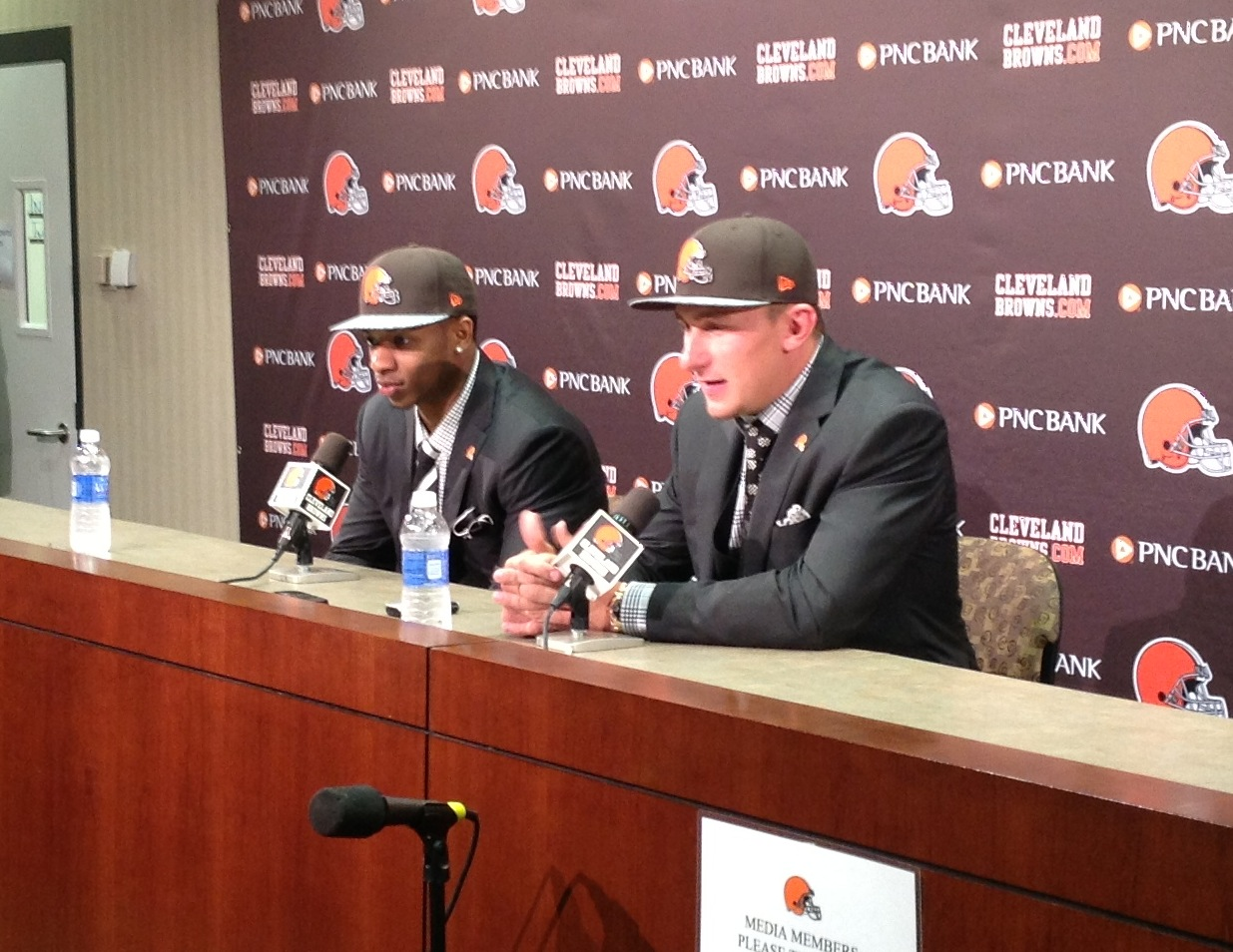 Johnny Manziel and Justin Gilbert Photo Presser 5-9-14