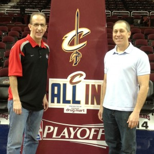 Kenny Roda and Sam Amico Photo at NBA Playoffs Under Basket - Copy