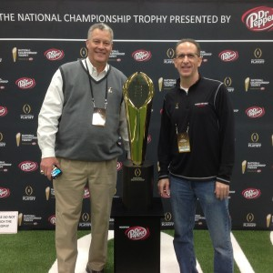 Kenny and Paul Keels with National Championship Trophy Media Day 1-10-15