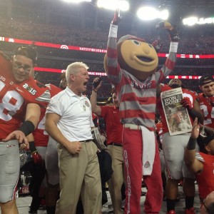 Kerry Combs(Def.Backs Coach) and Brutus Buckeye Celebrate Nati Championship 1-12-15