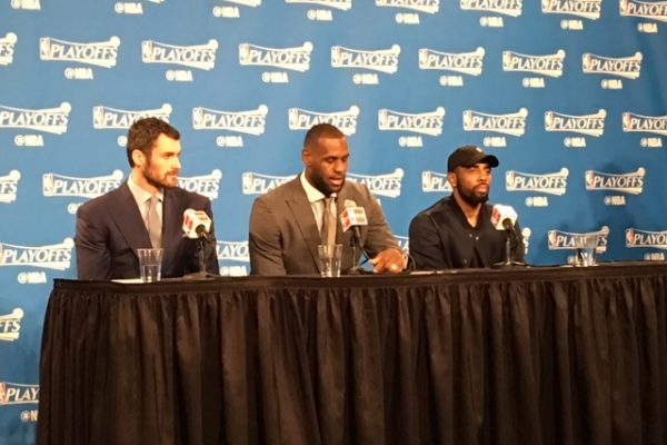 Kevin Love, James & Irving at Podium Postgame vs Detroit Game 1