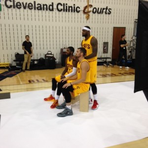 Kyrie Irving, LeBron James and Kevin Love Sitting Photo 9-26-14