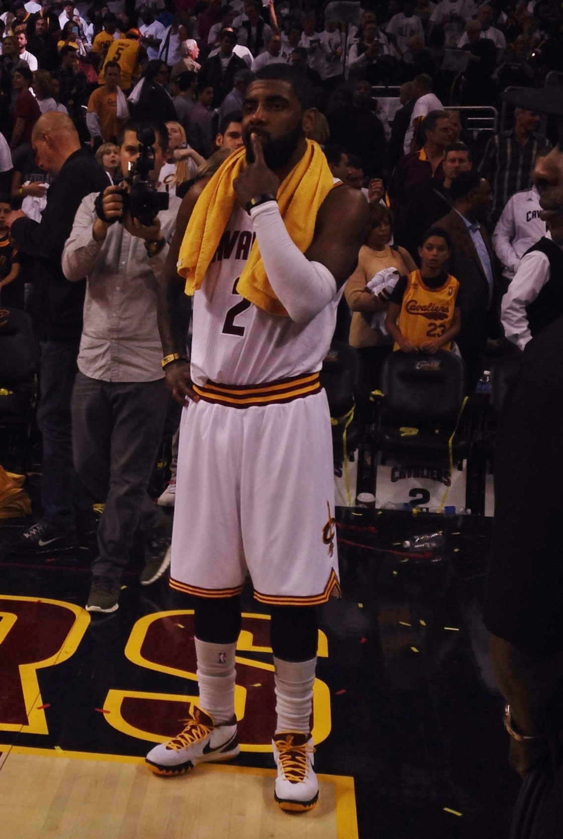 Kyrie Irving On Floor Postgame Photo vs Celts Game 1
