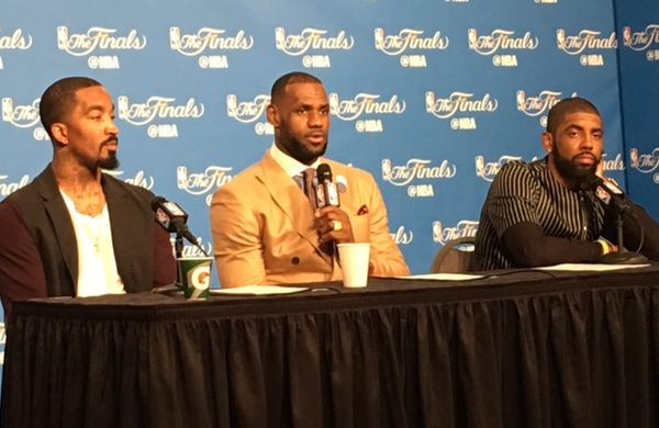 LeBron - JR - Kyrie at the Podium - Game 3 NBA Finals 2016
