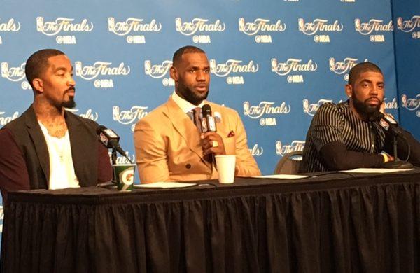 LeBron - JR - Kyrie at the Podium - Game 3 NBA Finals 2016