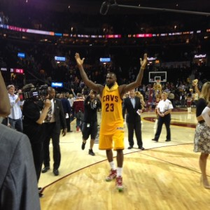 LeBron James Arms In The Air Postgame 2015