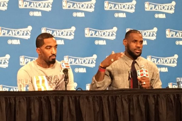 LeBron James & JR Smith Hawks Game 2 Postgame 25 Three's Made 5-4-16