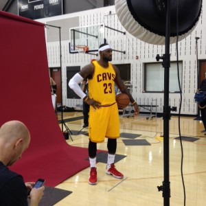 LeBron James Standing Photo Ball On Hip Cavs Media Day 2014
