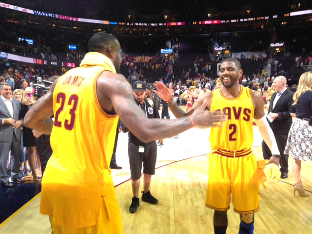 LeBron James and Kyrie Irving Celebrate a Game #5 Win