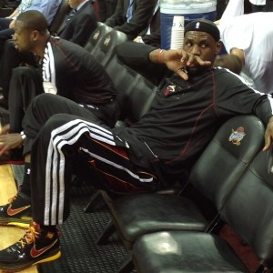 LeBron and Dwyane Wade on the bench