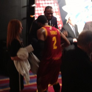 LeBron and Kyrie shake hands at Z jersey Ceremony 3-8-14