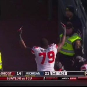 Marcus Hall Flipping the Bird to Michigan Fans 2013