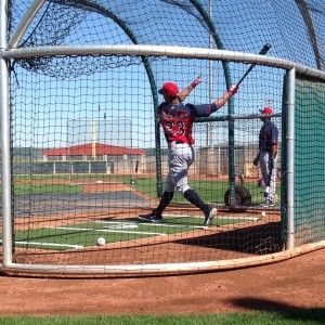 Michael Brantley Taking BP in Spring Training - Follow Through on Swing 2-27-15
