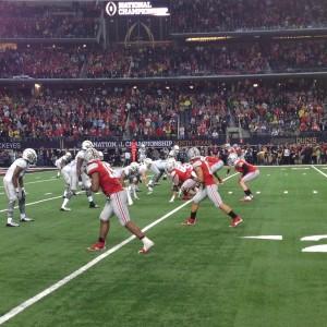 OSU Offense vs Oregon Defense In Game Action Shot Nati Championship Game 1-12-15