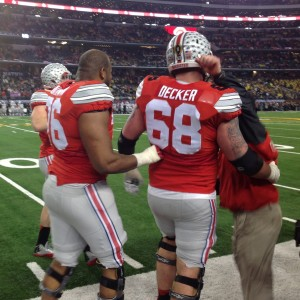 Taylor Decker and Darryl Baldwin Celebrating Nati Championship Game 1-12-15