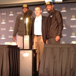 Urban Meyer, Cardale Jones and Tyvis Powell with Nati Championship Trophy Next Day 1-13-15