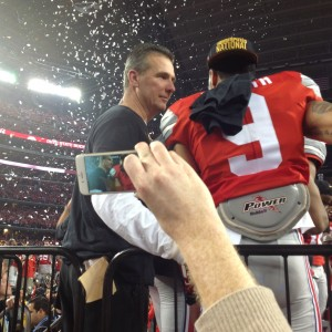 Urban Meyer and Devin Smith Postgame on Podium Nati Championship 1-12-15