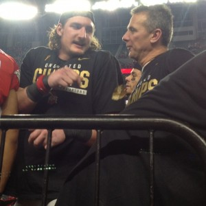 Urban Meyer and Joey Bosa on Podium Talking Postgame Nati Championship 1-12-15