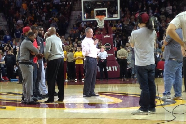 Urban Meyer at Cavs game 1-19-15